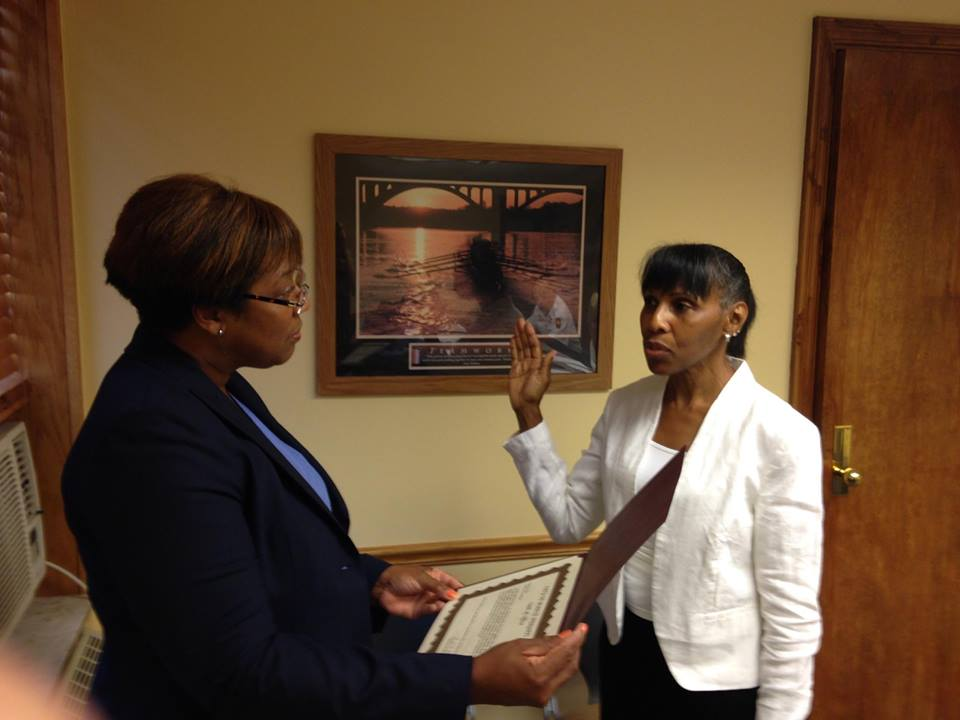 Mayor Annette M Blackwell swears in the new Chairwoman of the Civil Service Commission on Thursday evening, August 11 at City Hall.