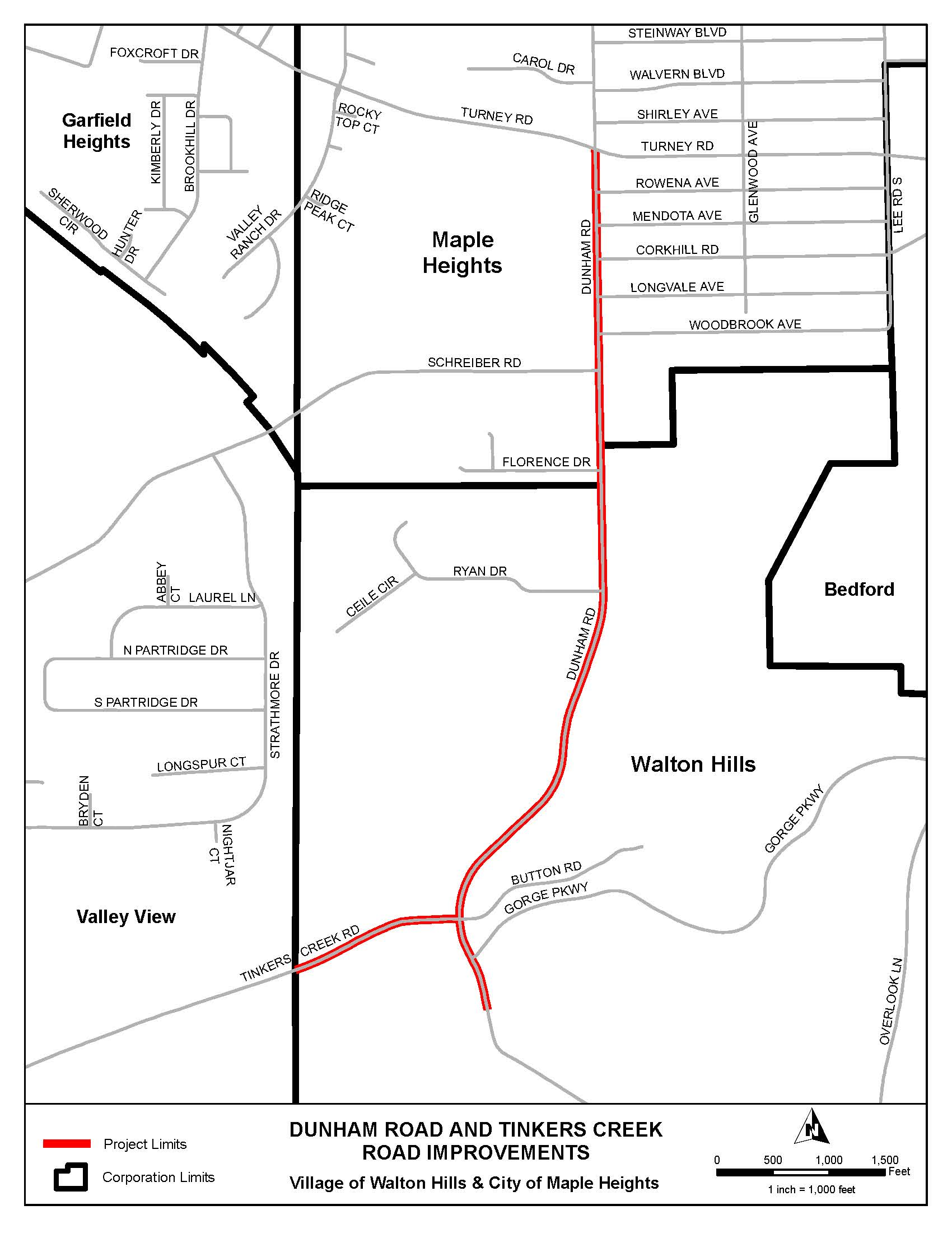 Map of the Project Area including Dunham Road and Tinkers Creek Road