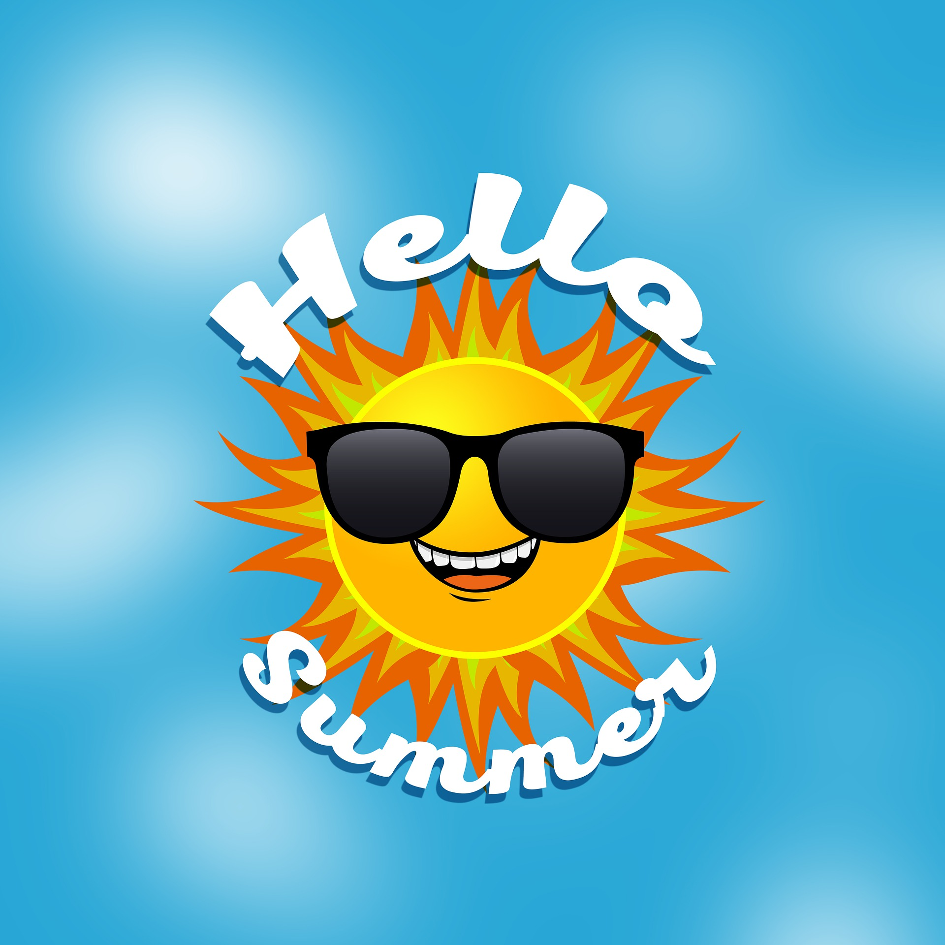 """Summer sun with sunglasses and text """"Hello Summer"""""""