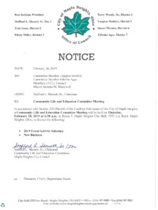 Icon of February 28, 2019 Meeting Notice