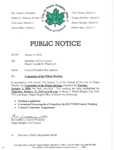 Icon of January 9, 2018 Meeting CANCELLED