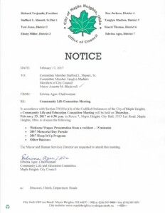 Icon of February 23, 2017 Meeting Notice