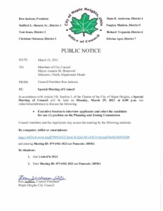 Icon of March 29, 2021  Special Council Meeting Notice