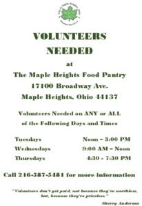 Icon of Food Pantry Volunteer Flyer