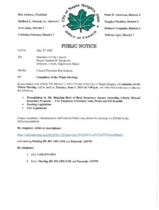 Icon of June 1, 2021 Meeting Notice