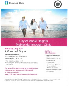 Icon of July 12, 2021 Maple Heights Mobile Mammogram Clinic