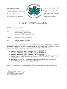 Icon of June 21, 2021 Special Meeting Notice (Amended)