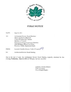 Icon of June 23, 2021 ARB Meeting Cancellation Notice