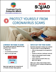 Icon of COVID-19 Scam Consumer Protection Flyer