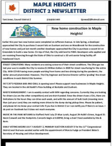 Icon of July 2021 District 2 Newsletter