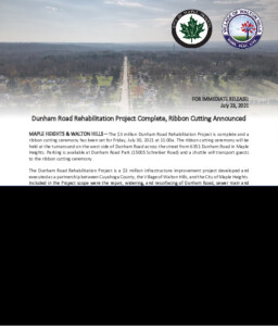 Icon of July 23, 2021 - Maple Heights & Walton Hills Joint Press Release Dunham Road Project