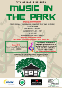 Icon of August 31, 2021 Music In The Park Flyer