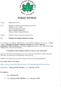 Icon of September 30, 2021 PZC Meeting Notice