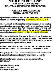 Icon of Notice To Residents - 2021 Road Program