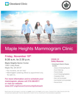 Icon of November 19, 2021 Maple Heights Mobile Mammogram Clinic