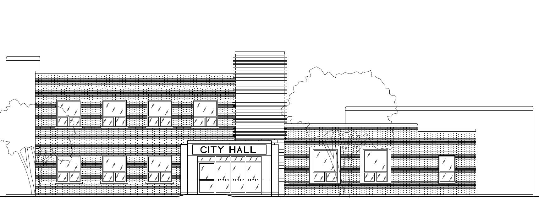 Elevation drawing of City Hall with elevator and vestibule.