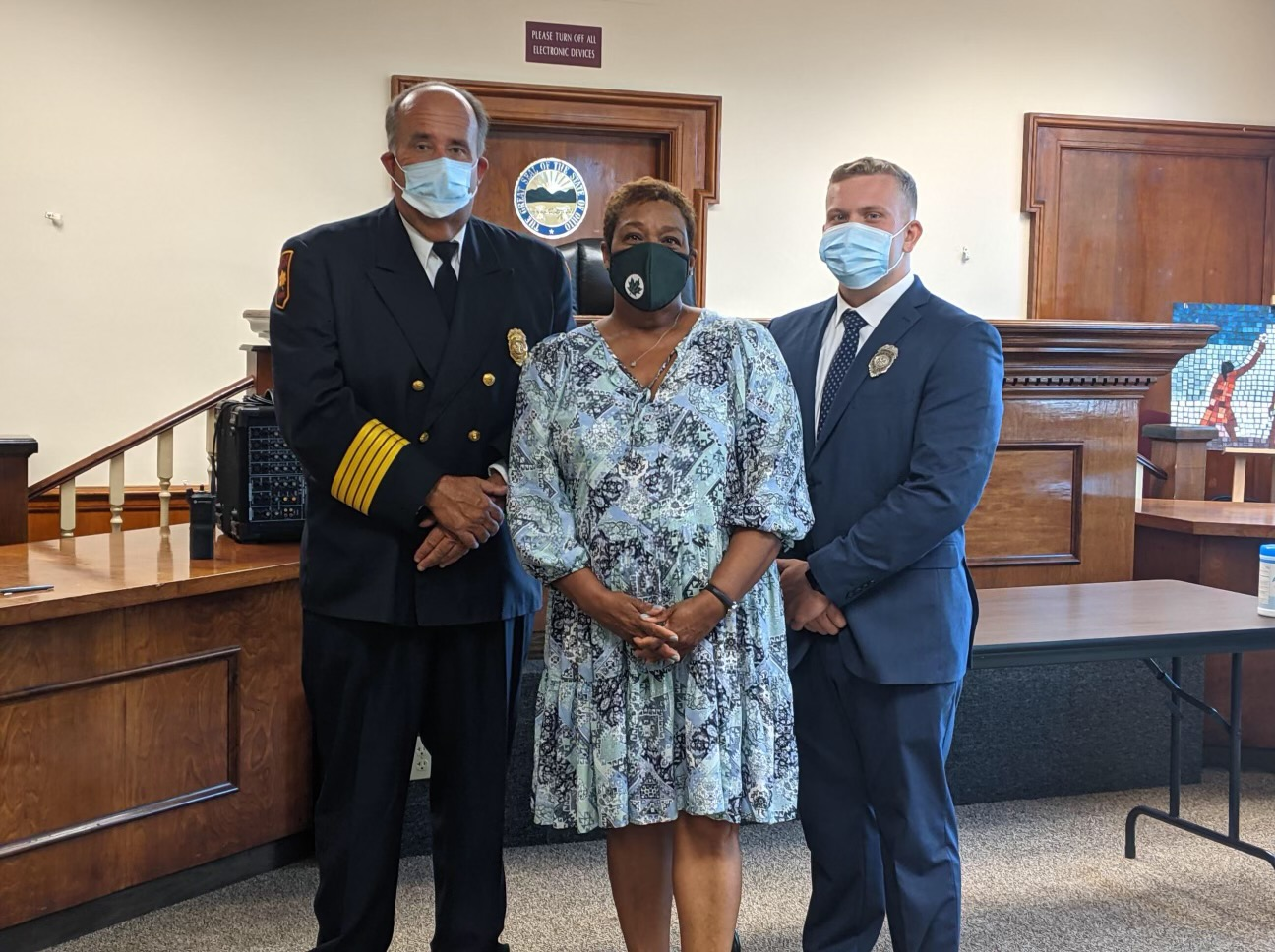 New Fire Cadet sworn in alongside Mayor and Fire Chief.