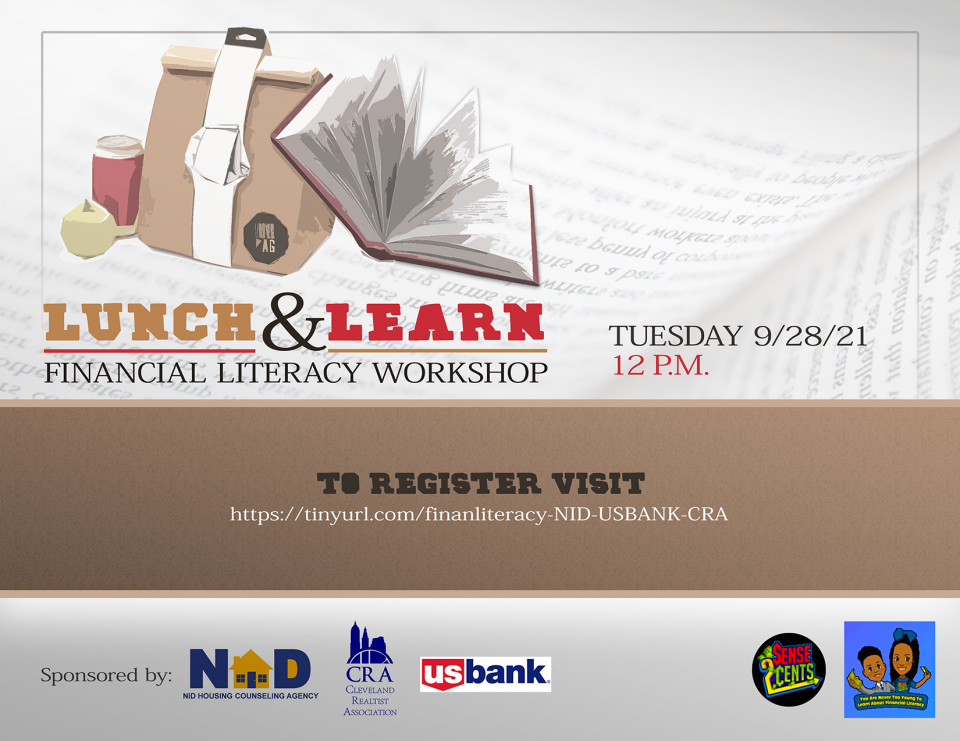 Financial Literacy Lunch and Learn Flyer with graphics.